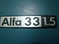 ALFA ROMEO 33 1500 SCRITTA POSTERIORE REAR BADGE