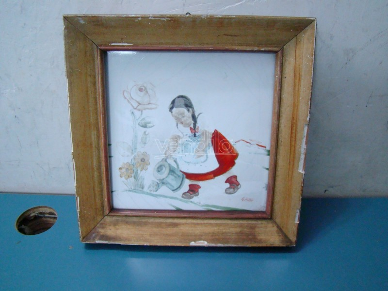 Mattonella decorata vintage epoca 1942 g. rossi maiolica italy
