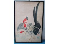 QUADRO PITTURA CINESE ACQUARELLO 1950 GALLO CHINESE PAINTING FRAMED
