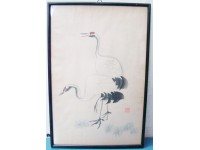 QUADRO PITTURA CINESE ACQUARELLO 1950 CICOGNE CHINESE PAINTING FRAMED