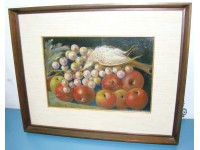 QUADRO NATURA MORTA OLIO SU MASONITE 1960 FOGLIETTI VINTAGE PAINTING OIL
