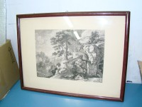 QUADRO PAESAGGIO FIAMMINGO CASTELLORE 1800 CIRCA ACQUAFORTE PAINTING VINTAGE EPOCA ANTIQUE