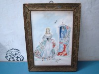 QUADRO FANCIULLA EDICOLA SACRA CHINA ACQUARELLATA 1950 DRAWING PAINTING VINTAGE