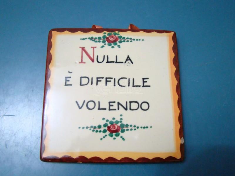 Mattonella decorata a mano vintage epoca 1940 orvieto maiolica italy