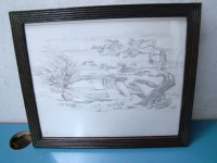QUADRO MARINA SPIAGGIA DISEGNO 1990 DRAWING PAINTING