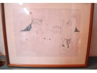QUADRO DISEGNO PIERROT VINTAGE DRAWING MATITA PENCIL CECIONI