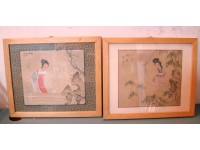 QUADRI PITTURE CINESI 2 ACQUARELLI VINTAGE EPOCA 1950 CHINESE PAINTING FRAMED