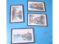 QUADRI ACQUAFORTE 4 OPERE EAU FORTE BRUGES 1930 VINTAGE PRINTS