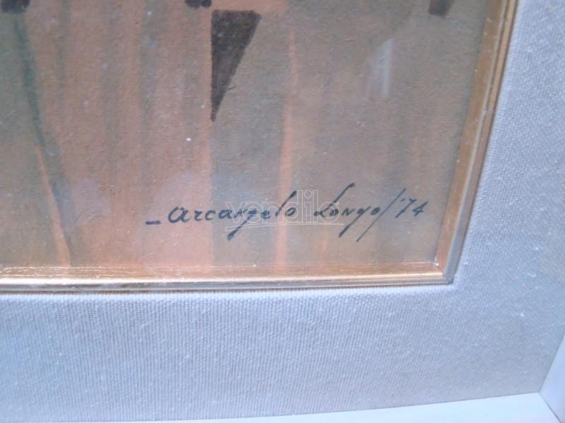 Quadro Ritratto Tecnica Mista Arcangelo Longo 1975 Art