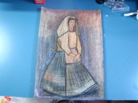 QUADRO DISEGNO DONNA IN COSTUME PASTELLO PENCIL DRAWING VINTAGE