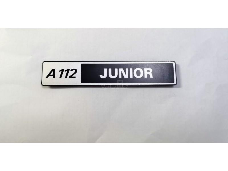 AUTOBIANCHI A112 JUNIOR SCRITTA POSTERIORE EMBLEM BADGE